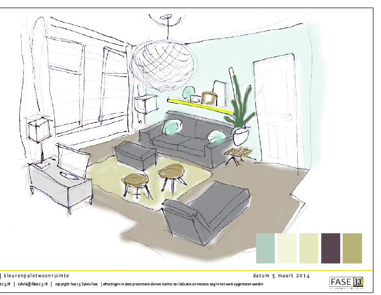 Projectvoorbeeld kleuradvies moodboard woonkamer fase13 for 3d schets maken